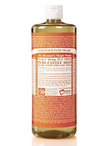 Made with Organic Oils, 18-in-1 Uses: Acne-Prone Skin, Dandruff, Laundry, Pets and Dishes, Concentrated, Vegan, Non-GMO – Pure-Castile Liquid Soap Tea Tree, 32 ounce – Dr. Bronner's