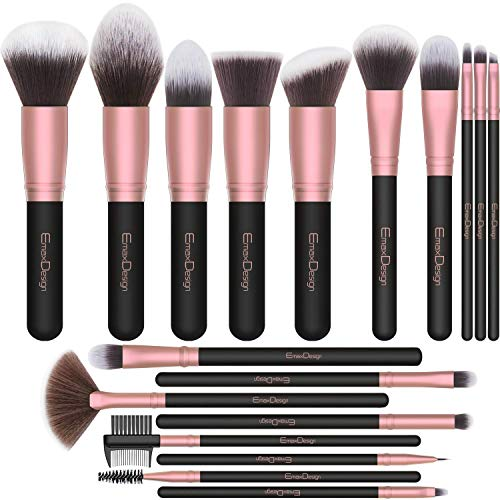 EmaxDesign Makeup Brushes,18 Pcs Professional Makeup Brush Set Premium Synthetic Brush Foundation Blush Concealer Blending Powder Liquid Cream Face Eyeshadow Brushes Kit Rose Golden