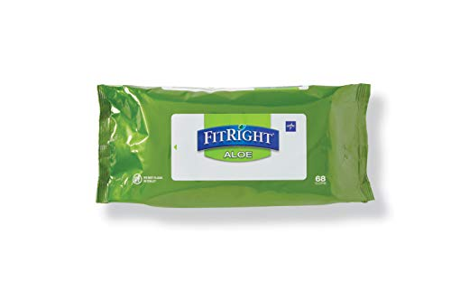 FitRight Aloe Personal Cleansing Cloth Wipes, Scented, 816 Count, 8 x 12 inch Adult Large Incontinence Wipes