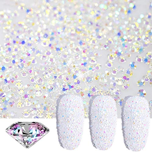 editTime 5000PCS Mini Ultra Tiny 1.2mm AB Shine Iridescent Crystals Micro Diamond Glass Sand Rhinestone for Nail Art Beauty Makeup DIY Craft 1.2mm AB 5000pcs