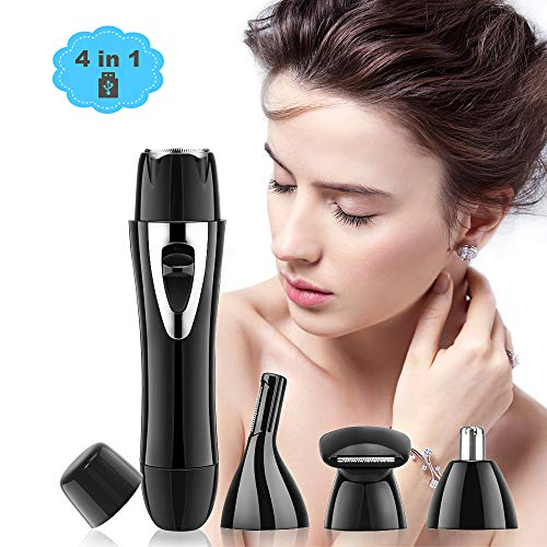 Women Hair Remover 4 in 1 USB Rechargeable Facial Hair Removal for Women Painless Waterproof Eyebrow Razor Nose Trimmer Ladies Electric Body ShaverBlack