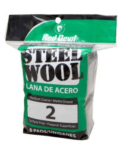 Red Devil 0325 Steel Wool, 2 Medium Coarse, 8 Pads