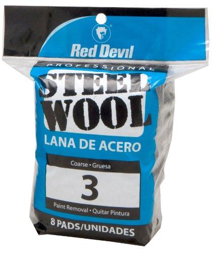 Red Devil 0326 Steel Wool, 3 Coarse, 8 Pads