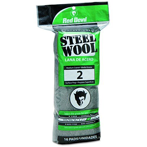 Red Devil 0315 Steel Wool, 2 Medium Coarse, 16 Pads