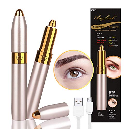 Anglink Eyebrow Hair Remover, 2019 USB Rechargeable Painless Portable Precision Electric Eyebrow trimmer for Women, Eyebrow Hair Removal Razor with Light Gold