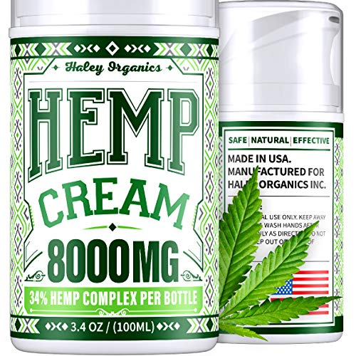 Safe to use with Arthritis Gloves, Back Massager, Knee Brace – Pain Relief Cream with Hemp Oil – USA Hemp Cream 3.4oz – Arthritis, Back, Sciatica, Neck, Knee, Neuropathy Pain Relief – 8000 mg Extract