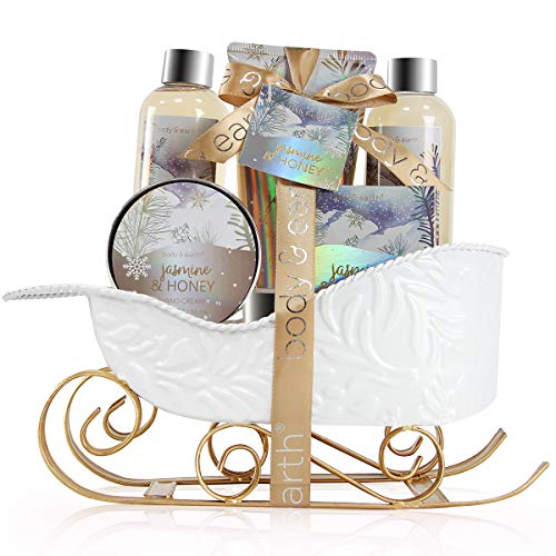 Bath and Body Set – Body & Earth Women Gifts Spa Set with Jasmine & Honey Scent, Includes Bubble Bath, Shower Gel, Soap, Body Lotion and Hand Cream. Perfect Gift Basket for Christmas