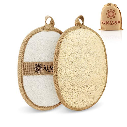 Premium Exfoliating Loofah Pad Body Scrubber, Made of Natural Egyptian Shower Loufa Sponge and Soft Cotton Materials 2 Pack