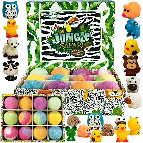 Set of 12 Organic Bubble Bath Fizzies with Jungle Animal toys. Gentle and kids safe Spa Bath Fizz Balls Kit. Birthday or Christmas gift for girls and boys – Bath Bombs for Kids with surprise inside