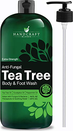 Helps Soothe Athlete Foot, Body Itch, Jock Itch and Eczema – Huge 16 OZ – Handcraft Antifungal Tea Tree Oil Body Wash and Foot Wash – Extra Strength Professional Grade – All Natural