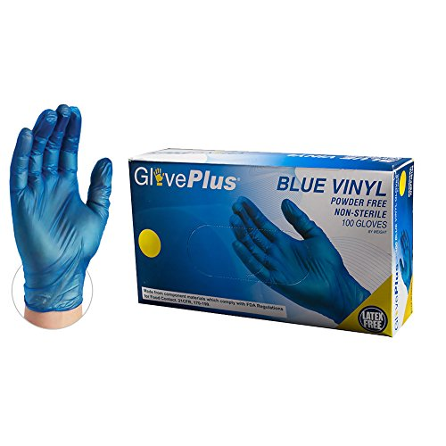 GlovePlus Industrial Blue Vinyl Gloves – IVBPF46100-BX – 4 mil, Latex Free, Powder Free, Disposable, Non-Sterile, Food Safe, Large, IVBPF46100, Box of 100