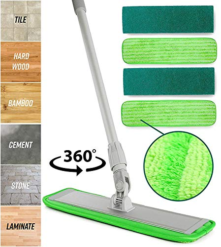 Washable Pads Perfect Cleaner for Hardwood, Laminate & Tile – 360 Dry Wet Reusable Dust Mops with Soft Refill Pads & Handle for Wood, Walls, Vinyl, Kitchen – Microfiber Mop Floor Cleaning System