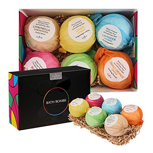 Anjou Bath Bombs Gift Set Colorless 6 X 3.5 Oz Lush Fizzies Spa Kit, Perfect for Bubble Bath, Moisturizing With Organic & All Natural Essential Oils, Jojoba Oil, Shea Butter, Perfect Mother's Day Gift