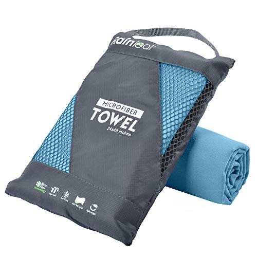 Rainleaf Microfiber Towel,Marine Blue,24 X 48 Inches