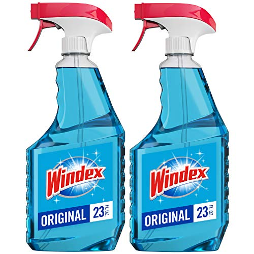 Windex Glass Cleaner Trigger Bottle, Original Blue, 23 fl oz 2 ct