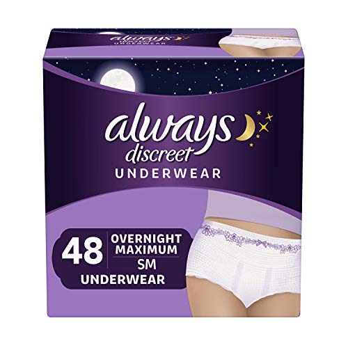 Pack of 3 48 Count Total – Always Discreet Incontinence & Postpartum Underwear for Women, Disposable, Overnight Maximum + Protection, Small/Medium 16 Count