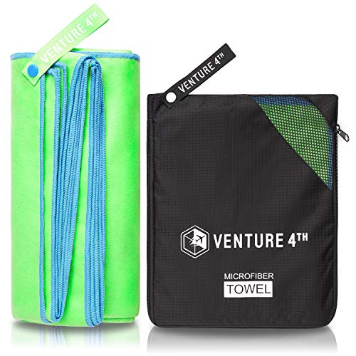 Light and Waterproof Green-Blue Medium – Sports Towel: Quick Dry Shammy Towels for Excercise, Beach, Camping, Backpacking, Swimming – VENTURE 4TH Premium Towel for Travelers