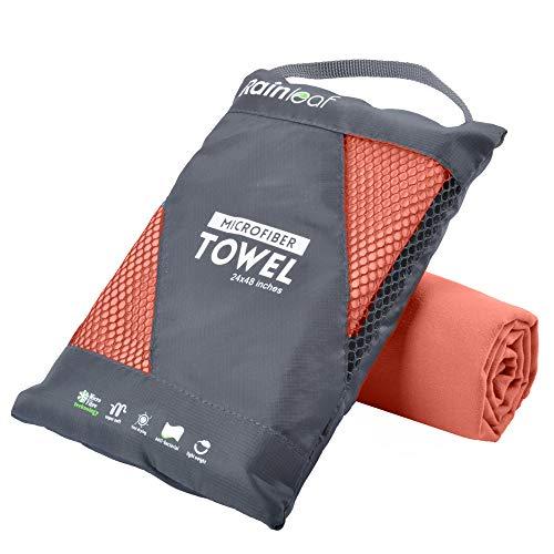 Rainleaf Microfiber Towel,Brick Red,24 X 48 Inches