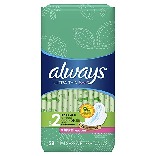 Always Ultra Thin Feminine Pads for Women, Size 2, Long, Super Absorbency, with Wings, Fresh Scented, 28 Count – Pack of 6 168 Count Total