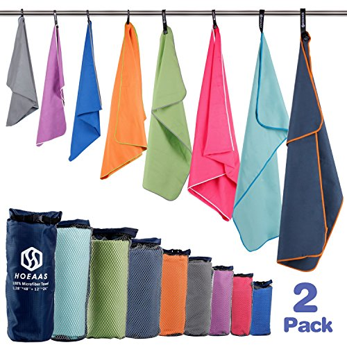 HOEAAS 2 Pack Microfiber Travel & Sports &Beach Towel-M40 x20″+24 x 12″-Lightweight, Compact, Super Absorbent, Fast Dry for Outdoor, Yoga, Camping,Gym+Buckled Carry BagM, Green